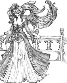Sona- League of legends (uncolored) by ~dragonmysticae on deviantART