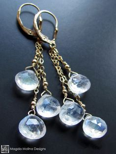 The Delicate Gold And Moonstone Dangle Earrings