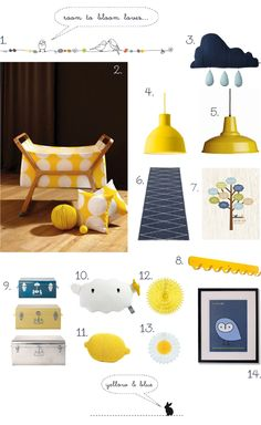 room to bloom yellow + blue spring inspiration board