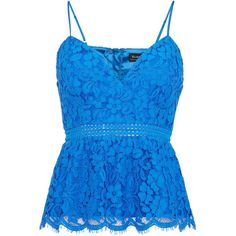 Bardot Sleeveless Lace Peplum Top ($58) ❤ liked on Polyvore featuring tops, cobalt, women, blue tank, blue sleeveless top, v-neck tank, sleeveless tank and sleeveless tank tops