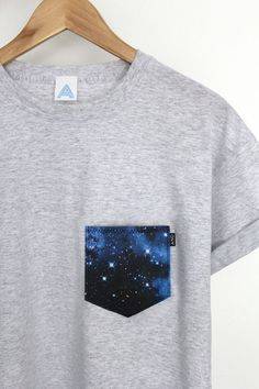online retailer d595c 8a296 Hand made Galaxy Pocket Tee.Limited edition. One off uni-sex tee.