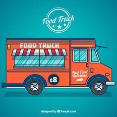camión de comida Vector Gratis