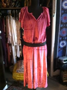 Plush Magenta Velvet Flowing Maxi Dress LXXL by LonelyMoonChild, $34.99