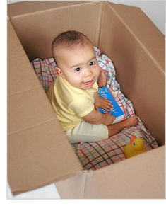 Lay a box on its side, put a blanket down inside. Maybe cut a little window to peek through. Let the little one hide and play inside.