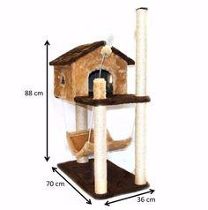Arranhador Para Gato Casa Com Rede - R$ 195,99