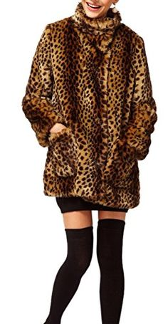 813f6a91716 Womens Faux Fur Stand Collar Long Sleeve Zipper up Leopard Coat XXXL >>>  Learn more by visiting the image link.