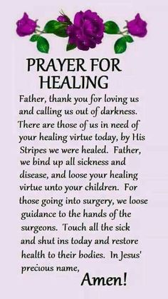 Read these powerful prayers for healing and better health. From cancer to depression, find prayers and read the prayers of others. Healing Scriptures, Prayer Scriptures, Bible Prayers, Faith Prayer, God Prayer, Night Prayer, Prayer For Healing The Sick, Prayer For Health, Prayer For The Day