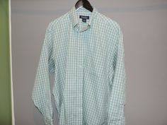 Brooks Brothers Designer Blue/Green Gingham Plaid Non-Iron Shirt SZ L Mint #BrooksBrothers #ButtonFront