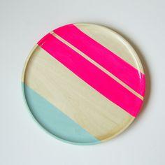 "Modern Neon Hardwood 10"" Plate, Neon Pink by Nicole Porter"