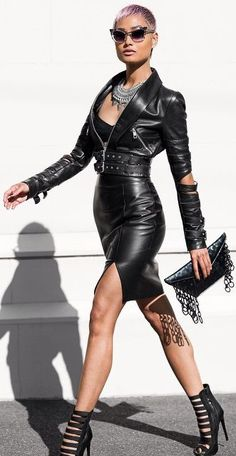 Black Leather Waist Belted Moto Jacket