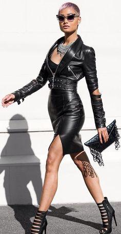 Black Leather Waist Belted Moto Jacket
