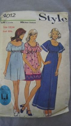 4012 STYLE Sewing Pattern Ladies CUT Maxi Frilly Baby Doll Frock Dress Sz 14