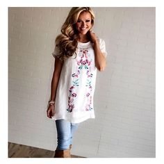 Embroidered Perfectly Tunic/Dress White. #shopmvb #mvb #modervintageboutique #wiwt #ootd #onlineboutique #onlineshopping #fashion #fashionblogger  SHOP LINK IN BIO