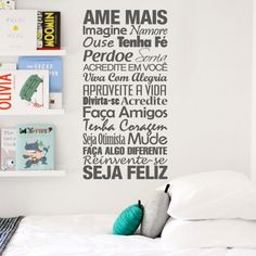 Adesivo Decorativo de Parede Ame Mais Cheap Stickers, Wall Stickers, Family Wall Quotes, Vinyl Wall Art, Interior Exterior, Sweet Home, Home And Garden, Layout, Lettering
