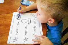 Mommy's Little Helper: All About Me Preschool Theme - preschool reading - Family Body Preschool, Fall Preschool, Preschool Songs, Preschool Themes, Preschool Classroom, Kindergarten, Classroom Ideas, All About Me Preschool Theme, All About Me Activities
