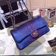 LIMITED EDITION PYTHON HANDBAG 💜❤💜 Available at ➡ @boutiqueelia Luxury Bags, Luxury Handbags, Chanel Handbags, Cute Bags, My Bags, Purses And Handbags, Purse Wallet, Beautiful Bags, Fashion Bags