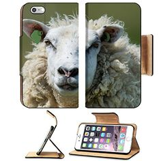 MSD Premium Apple iPhone 6 Plus iPhone 6S Plus Flip Pu Leather Wallet Case iPhone6 Plus Head of a big white sheep at Dutch wadden island Terschelling 35008781 *** You can find more details by visiting the image link.