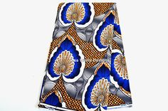 Wholesale African Fabric Blue White Brown Wax by TessWorldDesigns, $24.95