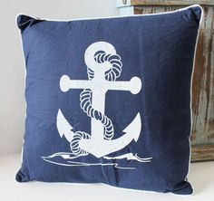 Nautical Anchor Throw Pillow - Beach Chic Cottage Home Decor - California Seashell Company