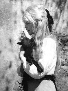 two things I love.  brigitte bardot & baby goats