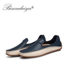 7bf0d084 BIMUDUIYU Marka Letnie buty przyczynowe Męskie mokasyny Oddychające otwory  Luksusowe płaskie buty Wysokiej jakości skórzane Mokasyny