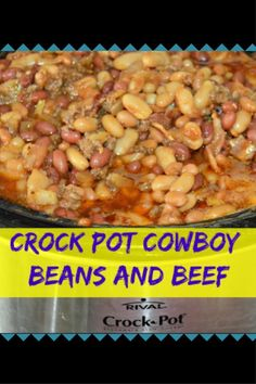 Crock Pot Cowboy Beans and Beef Slow Cooker Soup, Slow Cooker Recipes, Crockpot Recipes, Dinner Side Dishes, Main Dishes, Crockpot Side Dishes, My Favorite Food, Favorite Recipes, Cowboy Beans