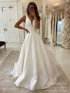 Wedding Dresses Vintage Romantic A-Line V-neck Ivory Satin Simple Wedding Dress Backless Bridal Gowns Q SQOSA.Wedding Dresses Vintage Romantic A-Line V-neck Ivory Satin Simple Wedding Dress Backless Bridal Gowns Q SQOSA Wedding Dress With Pockets, V Neck Wedding Dress, Backless Wedding, Sexy Wedding Dresses, Princess Wedding Dresses, Country Wedding Dresses, Sexy Dresses, Bridal Dresses, Prom Dress