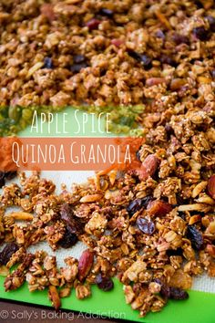 Crunchy Apple Spice Granola packed with quinoa, almonds, maple, and cinnamon.  Healthy snack by sallysbakingaddiction.com @Sally [Sally's Baking Addiction]