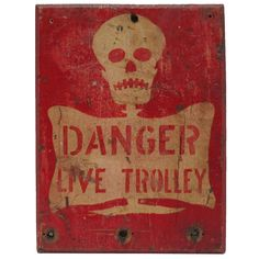 Chicago Painted Wood Trolley Sign | From a unique collection of antique and modern signs at http://www.1stdibs.com/furniture/folk-art/signs/