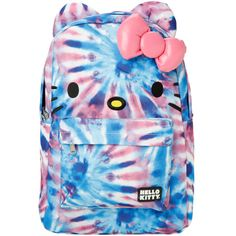 Hello Kitty Big Face Tie Dye Backpack   Hot Topic (33 AUD) ❤ liked on Polyvore featuring bags, backpacks, padded bag, strap bag, blue bag, hello kitty and embroidered bag