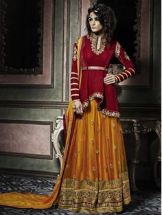 Red with Yellow Anarkali Lehenga Suit for Festivals