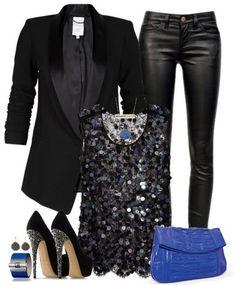 #mode Black Outfit für das Jahr 2014, schwarzer Anzug, Lederhose und Pailletten top