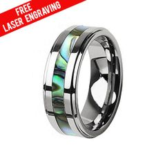 Gorgeous Tungsten Abalone Striped Wedding Band or Couple Ring, Wedding Band Ring,Free Laser Engraving,Free Gift Box,Custom Made,