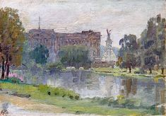 ANNA RICHARDS BREWSTER American, 1870–1952  Buckingham Palace  Signed with initials ARB; also titled on the reverse Oil on canvas 5½ x 8 inches (14 x 20.4 cm)