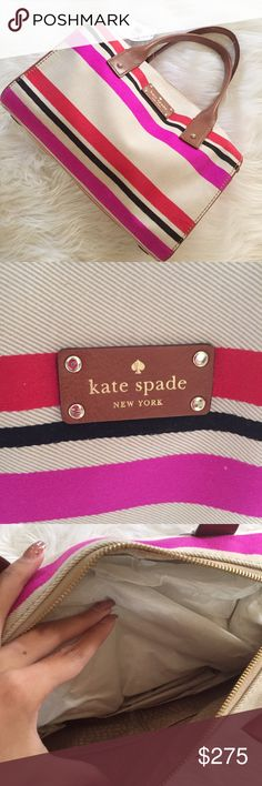 Kate Spade Striped Bag Beautiful Kate Spade bag NWT! Perfect condition. So cute. No trades. Retail is $328. Bundle & save 5%! 80fvkff kate spade Bags
