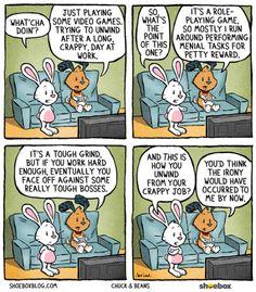 video games to unwind after work | Chuck & Beans comic via Shoebox