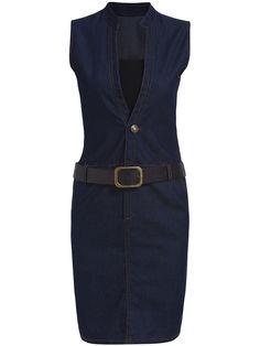 Navy Stand Collar Belt Denim Dress With Corset -SheIn