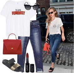 Gigi hadid nos enseña como una tshirt, sandalias planas y un jean pueden crear el look perfecto para salir el fin de semana. #casualwear #outfitbygigihadid