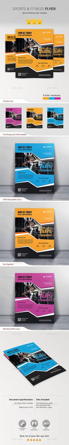 Sports & Fitness Flyer  — PSD Template #clean #business #advertisement…