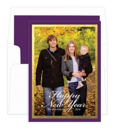 vertical new year purple with gold foil border photo cards