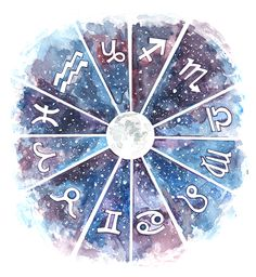 watercolor, horoscope, star sky