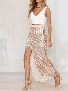 High Waisted Sequin New Years Eve Skirt