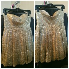 """Jodi Kristopher Mini Prom/Homecoming Sequin Dress Worn once. Flat Measurements: Bust 15 1/2"""", Waist 14"""", Bust to Hem 26"""". Double lined (1 layer poly,  1 poly/tulle), invisible zipper, sweatheart neck line. Jodi Kristopher Dresses Mini"""
