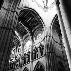 Black and white Almudena Cathedral interior in Madrid