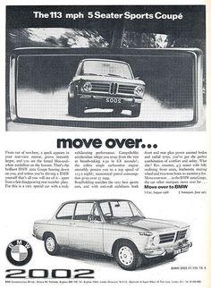 BMW 2002 Ad 1970 #bmwvintagecars