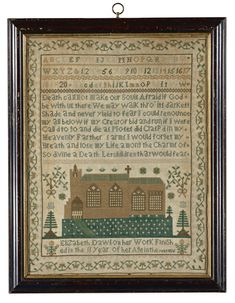 Elizabeth Dawson - 1826. Silk on linen. Appears to be in original frame. Sold for 3,750 USD