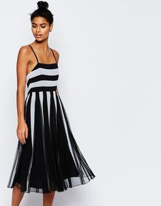 ASOS Mono Mesh Fit And Flare Strappy Midi Dress With Low Back