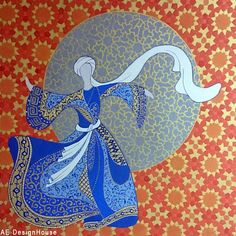 "Contemporary Herat School of Miniaturi - this painting depicts the ancient tradition of the Sufi Dance called ""Sema"". The details in the painting are based on Thirteenth Century Central Asian design of grids and illuminations. The dancer has been represented in a state of Perfect Balance."