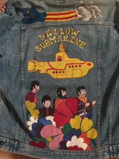 Yellow Submarine jacket Painted Denim Jacket, Painted Jeans, Painted Clothes, Denim Jacket Men, Denim Coat, Diy Clothing, Custom Clothes, Jean Jacket Design, Les Beatles