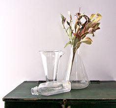 Vintage  Mini Glass Bottle and Laboratory Beakers. $20.00, via Etsy.